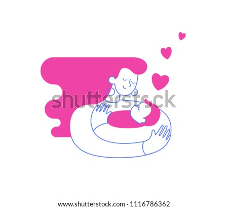 Mom hugging and cuddling her baby boy or girl and nursing him. Mother embracing newborn son and expressing love and care. Modern illustration could be used as logo symbol for banner or website.