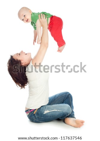 Mom playing with baby, a white background