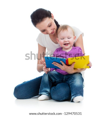 Mom reading book  daughter kid