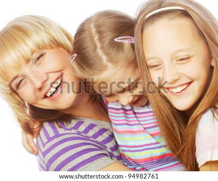 mom with two sisters. happy family.