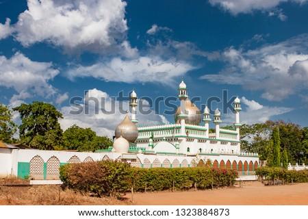 Mombasa. Kenya. Africa. Colorful ornate Islamic mosque. Mosques in Kenya. Religion in Kenya. Sights of Mombasa.