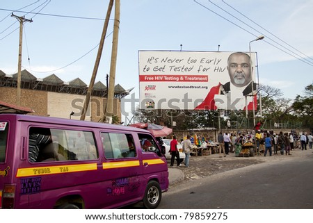 MOMBASA, KENYA - MARCH 31: Test & Treat Campaign Billboards by Los Angeles-based AIDS Healthcare Foundation, provider of HIV/AIDS medical care on March 31, 2011 in Mombasa, Kenya