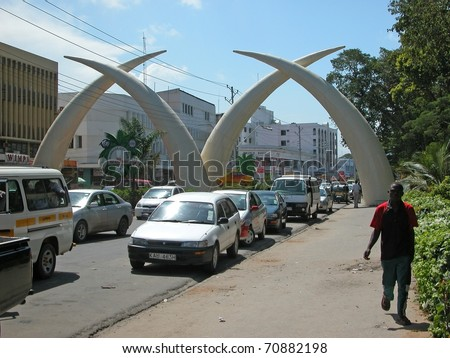 "MOMBASA - NOVEMBER 22: Symbolic ""Tusks"" in city center on November 22, 2007 in Mombasa, Kenya. The tusks were built to commemorate the visit of Queen Elizabeth to the town in 1952."
