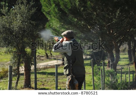 moment of a hunter shooting