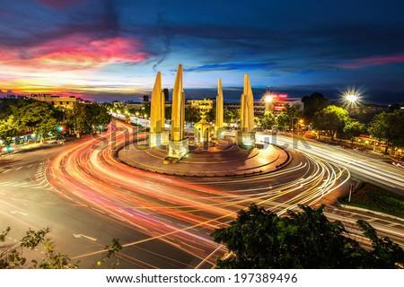 Moment of Democracy monument at Dusk (Bangkok, Thailand)