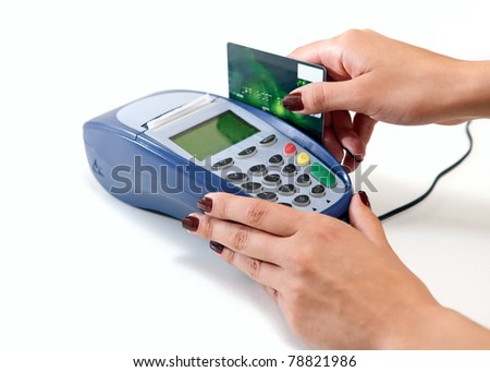 Moment of payment with credit card through terminal