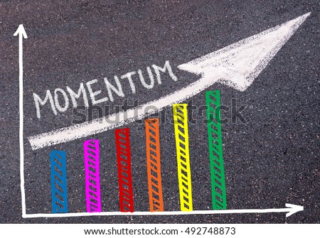 Momentum written with chalk on tarmac over colorful graph and rising arrow, business marketing and creativity concept