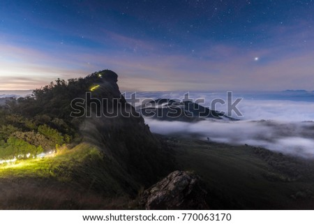 Mon Jong mountain, thailand with star, moon and milky way in night time Stockfoto ©