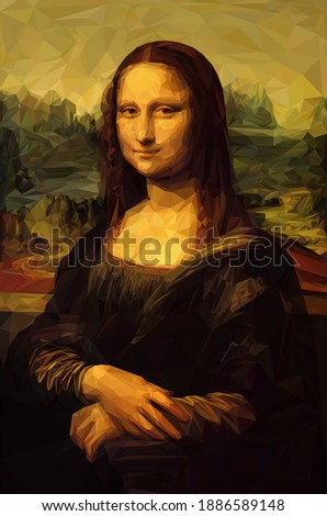 "Mona Lisa ""La Joconde"" - Leonardo da Vinci painting in Low Poly style. Remastered. Conceptual Vector Illustration"
