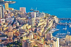 Monaco and Monte Carlo cityscape and coastline colorful view from above, Principality of Monaco, Cote D Azur