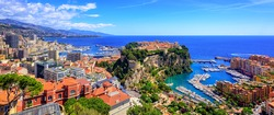 Monaco and Monte Carlo panorama with the Old town, Port and Prince's Palace