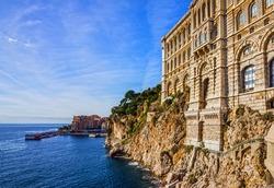 Monaco and Monte Carlo principality. Sea view, Oceanographic museum building
