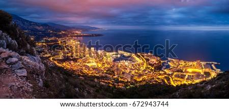 Monaco at blue hour #672943744
