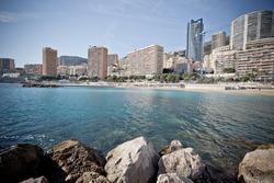 Monaco beach and Monte Carlo cityscape vintage color profile view, Principality of Monaco