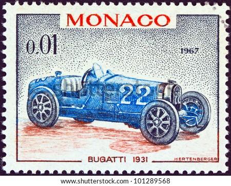 """MONACO - CIRCA 1967: A stamp printed in Monaco from the """"25th Grand Prix, Monaco"""" issue shows a Bugatti type 51 Grand Prix racing car of 1931, winner of Monaco Grand prix, circa 1967."""