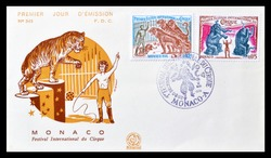 MONACO- CIRCA 1974 : Cancelled First Day Cover letter printed by Monaco, that shows Circus, circa 1974.