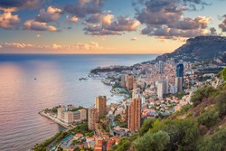 Monaco. Cityscape image of Monte Carlo, Monaco during summer sunset.