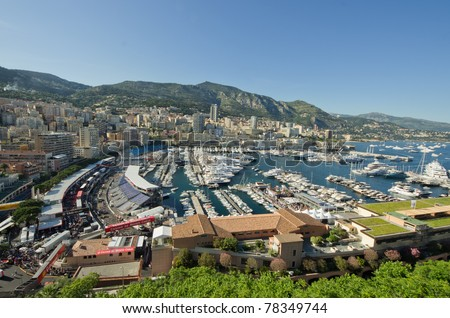 MONACO, FRANCE-MAY 28: luxury yacht are parked in the Herculs'port  part of the track of the grand prix of monaco on 28th, 2011 of may in Monaco, france