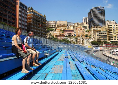 MONACO - MAY 07:Spectator sit on audience stage for formula 1 one racing in Monaco.of 2008 on May 07 2008 in Monaco.Formula One motor race run since 1929 and held each year on the Circuit de Monaco.