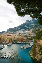 Monaco, panoramic view of port de Fontvieille. French riviera, azur coast. Bay with a lot of luxury yachts.