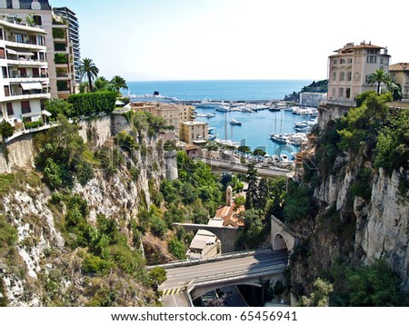 Monaco, view from the railroad station to port Hercule