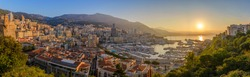 Monaco Ville Harbour sunrise panorama city skyline, Monte Carlo, Monaco
