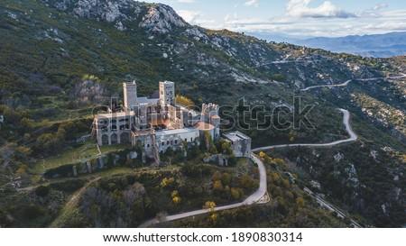 Monasterio de Sant Pere de Rodes old monastery castle beautiful scenic view from drone Stock fotó ©