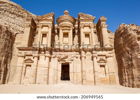 Monastery at Petra, Jordan. Accessed by ascending 850 steps, the Monastery was originally dedicated to the Nabataean god Obodas in the 1st century BCE.