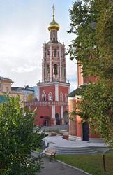 Monastery belltower, Vysokopetrovsky Monastery male monastery on Petrovka street, in center area of Moscow, Russia