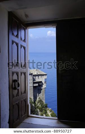 Monastery Dionisiou through old door