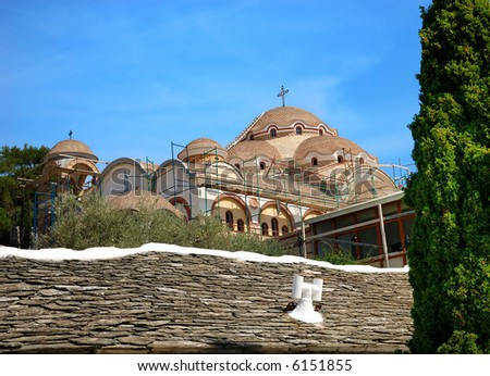 monastery in thassos island in greece