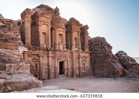Monastery monument in Jordan's Petra national park Stock fotó ©