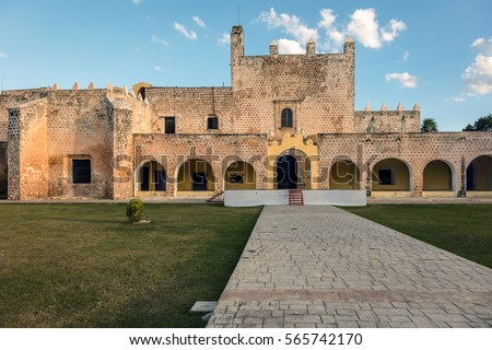 Monastery of San Bernardine of Siena in Valladolid, Yucatan, Mexico was the first church constructed on American soil, starting 1552, completed in 1560. #565742170