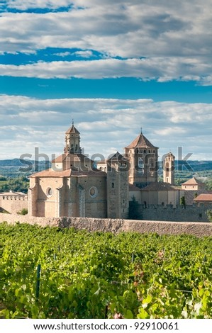 Monastery of Santa Maria de Poblet and vineyards, Catalonia, Spain