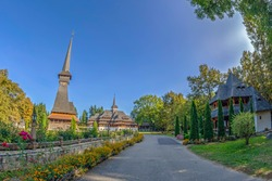 Monastic complex that includes the wooden church of the Săpânța-Peri Monastery, Maramures, Romania. With a total height of 78 m it is the tallest wooden church in the world. Built in neo-gothic style.
