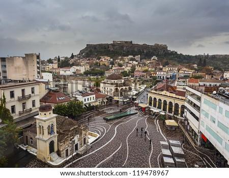 Monastiraki square and Acropolis in Athens,Greece