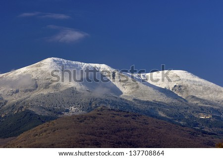 Moncayo summit (2316 m.), Moncayo Natural Park, Zaragoza, Aragon, Spain