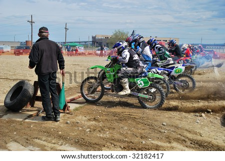 MONCHEGORSK, RUSSIA, JUNE 14: Motorcross racers get ready to start the 2nd stage of the championship race called \