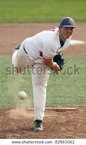 MONCTON, CANADA - AUGUST 14: British Columbia's Jon Bauer threw a one-hitter in his team's 4-0 win over Manitoba for third place at the 2011 Baseball Canada Cup August 14, 2011 in Moncton, Canada.