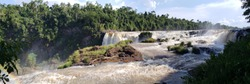 Monday waterfalls (Salto del Monday), located in Presidente Franco city, Paraguay. The name of the fall is written in guarani language and means: water that steals.