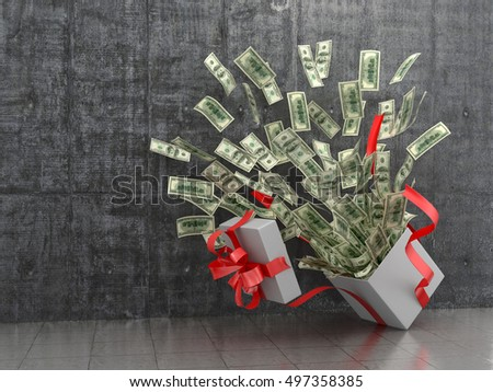Monetary concept. A cash gift or money. 3D illustration.
