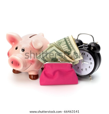 Money accumulation concept. Money and alarm clock isolated on white background.