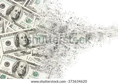 Money american hundred dollar bills disintegration. Abstract USD background Foto stock ©