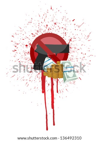 money and blood gun illustration design over a white background