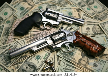 Money ,357 and 44 caliber guns