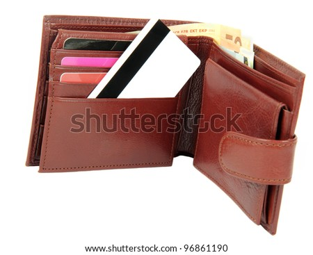 Money and credit card in wallet isolated on white background