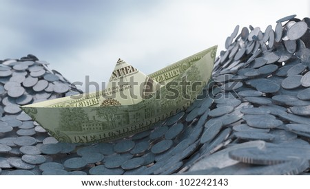 Money and investment concept - Dollar paper ship on a coin ocean