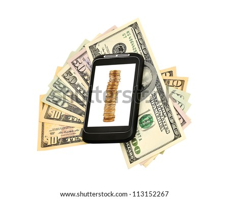 money and mobile  phone on a white background