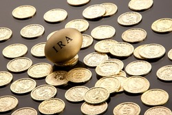Money and nest eggs concept for retirement, savings, and financial planning