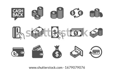 Money and payment icons. Cash, Wallet and Coins. Account cashback classic icon set. Quality set.